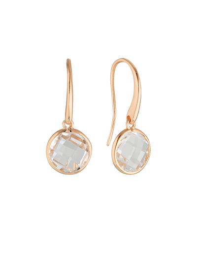 Georgini Lucent Large Hook Earrings - Rose Gold - Mocha