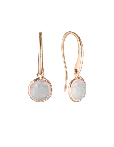 Georgini Lucent Small Hook Earrings w/ Rose Quartz - Mocha