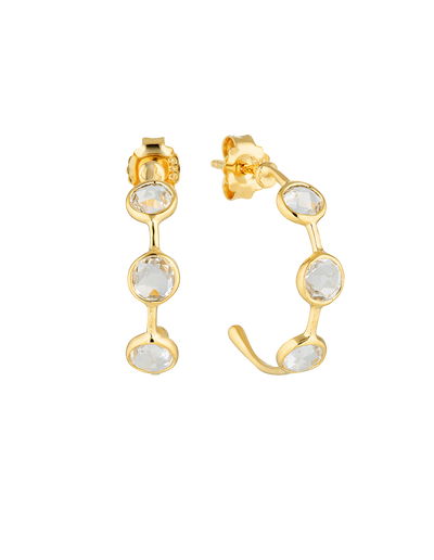 Georgini Kiklo Hoop Earrings w/ White Topaz - Gold - Mocha