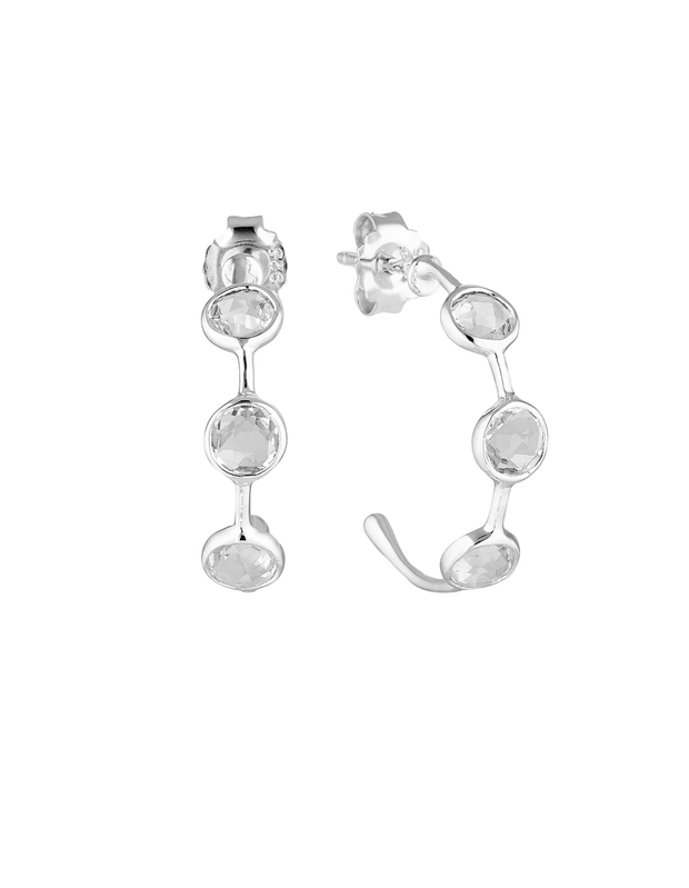Georgini Kiklo Hoop Earrings w/ White Topaz - Silver - Mocha