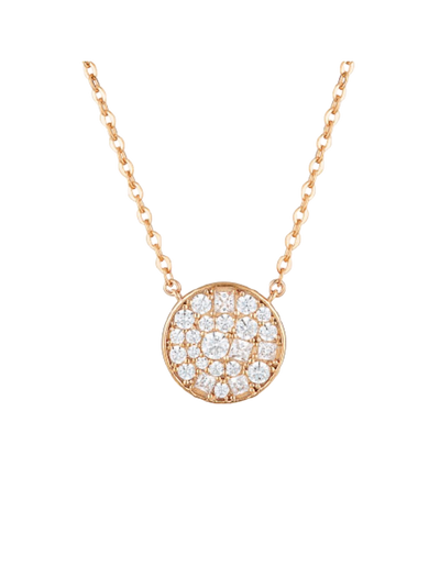 Georgini Mosaic Disc Pendant - Rose Gold - Mocha