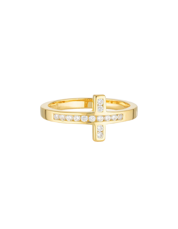 Georgini Spiritus Wrap Cross Ring - Gold - Mocha