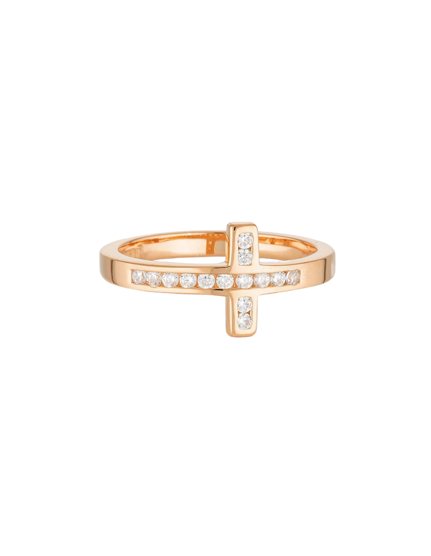 Georgini Spiritus Wrap Cross Ring - Rose Gold - Mocha
