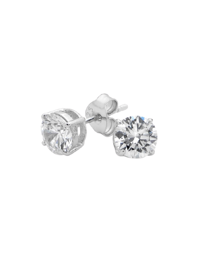 Georgini 6mm Brilliant Stud Earrings w/ CZ - Silver - Mocha