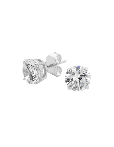 Georgini 8mm Brilliant Stud Earrings w/ CZ - Silver - Mocha