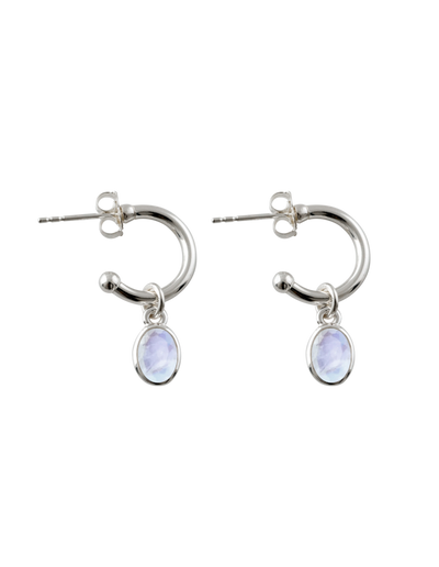 Von Treskow Open Hoop Studs Earrings w/ Moonstone - Mocha