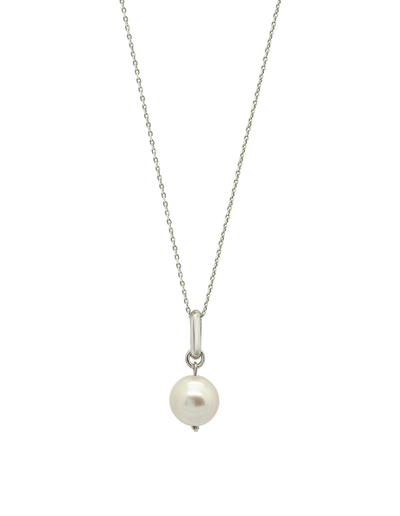 Ichu Featured Pearl Necklace - Silver - Mocha