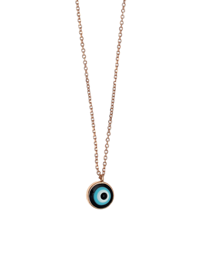 Gregio Tiny Shiny Enamel Evil Eye Necklace - Rose Gold - Mocha