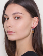 Zahar Molly Earrings w/ Coloured Glass Stones - Mocha