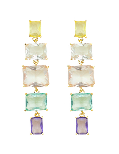 Zahar Eloise Earrings w/ Coloured Glass Stones - Mocha