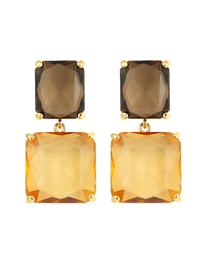 Zahar Diana Earrings w/ Coloured Glass Stones - Mocha