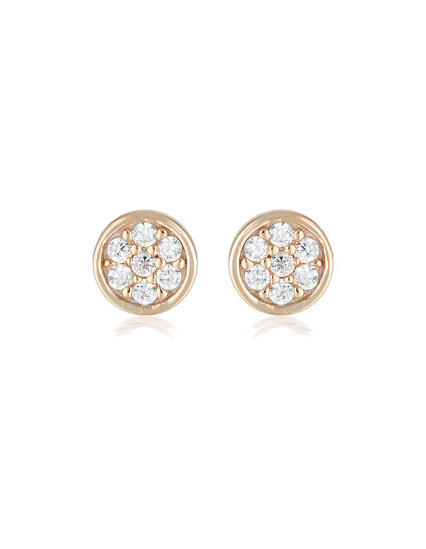 Georgini Dotti Stud Earrings w/ CZ - Rose Gold - Mocha