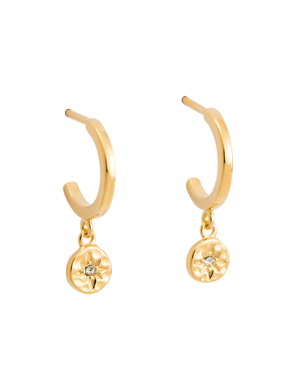 Kirstin Ash Star Coin Hoop Earrings w/ 18K Gold Vermeil - Mocha