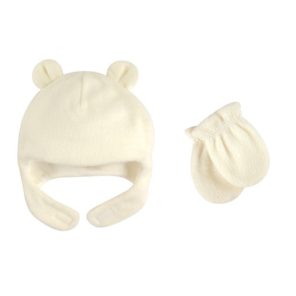 Hat & Mitten Set Fleece Bear 0-6 mo