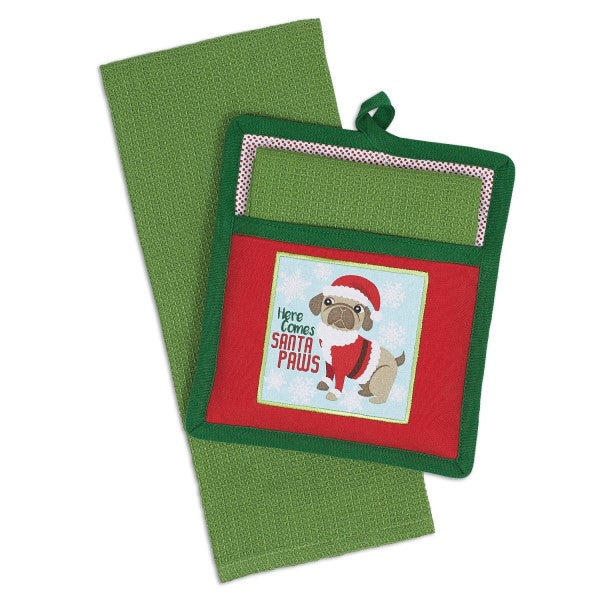 Potholder Set Santa Paws