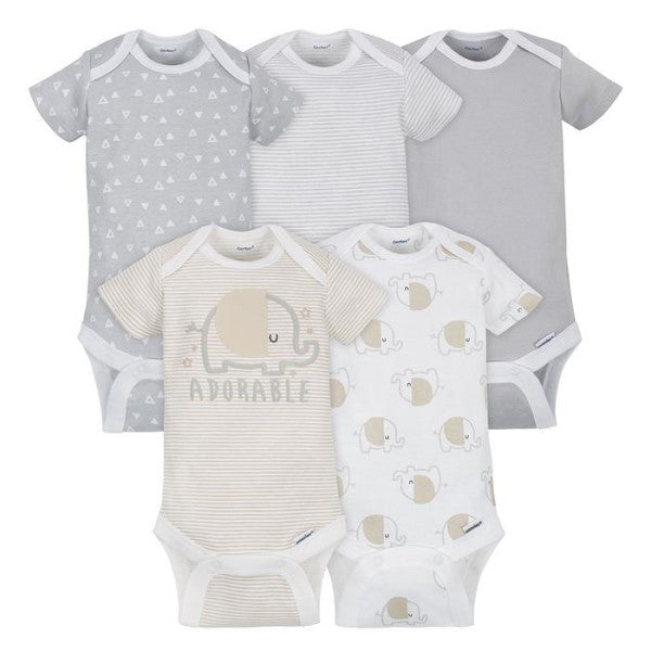 Onesie Elephants 5-Pack 0-3 mo