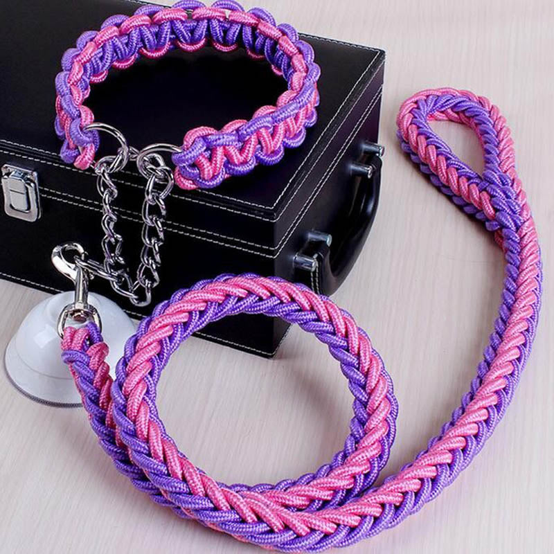 Big Dog Leash And Collar Strands Plaited Rope Chain Strong For Large Dogs