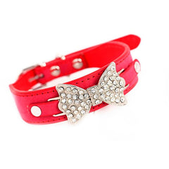 Super Deal Dog Collar Bling Crystal With Leather Bow Necklace Pet Puppy Cat New XT