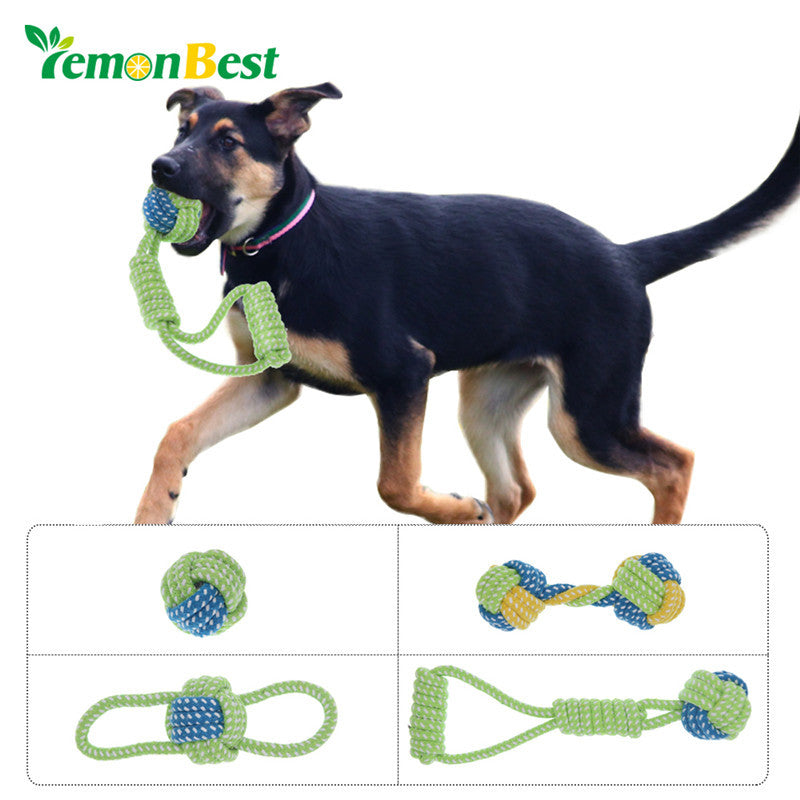 LemonBest Cotton Dog Rope Toy Knot Puppy Chew Teething Toys Teeth Cleaning Pet Palying Ball For Small Medium Large Dogs
