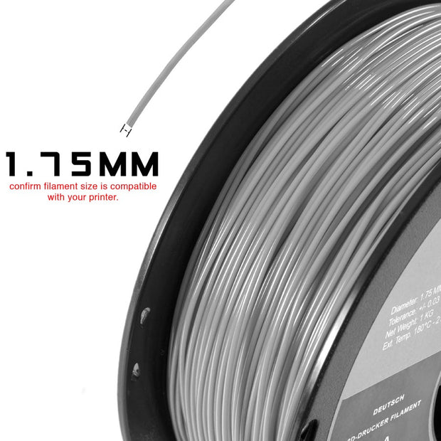 SILVER PLA FILAMENT - 1.75MM, 1KG SPOOL