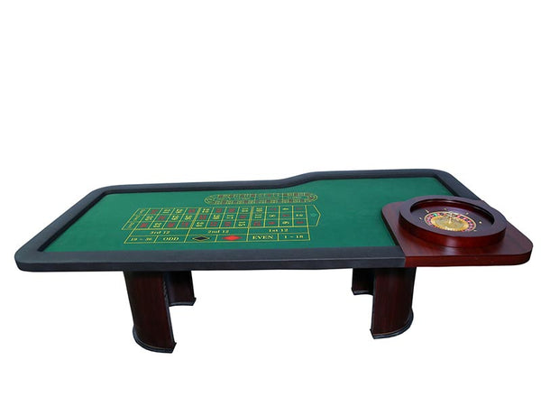 Roulette Table with 20Inch Wheel and Wooden Legs - casino-kart