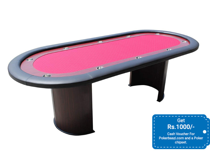 HOME GAME POKER TABLE | BLACK | RED | GREEN - OVAL SHAPE