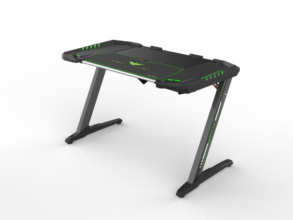Carbon X Pro Ergonomic Z2 Gaming Desk - (BLACK) Computer Gaming Desk with Retractable Cup Holder & Headset Hook - RGB Light - casino-kart