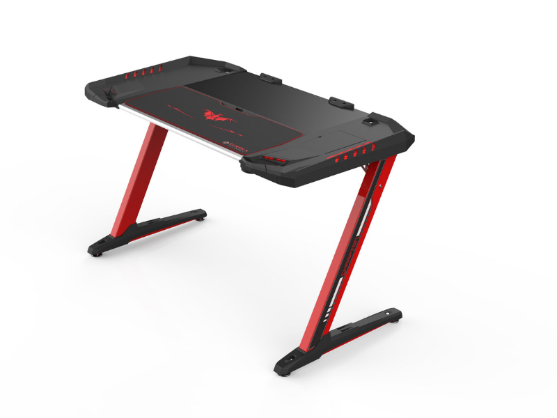 Carbon X Pro Ergonomic Z2 Gaming Desk - (RED) Computer Gaming Desk with Retractable Cup Holder & Headset Hook - RGB Light