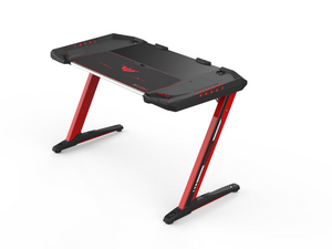 Carbon X Pro Ergonomic Z2 Gaming Desk - (RED) Computer Gaming Desk with Retractable Cup Holder & Headset Hook - RGB Light - casino-kart