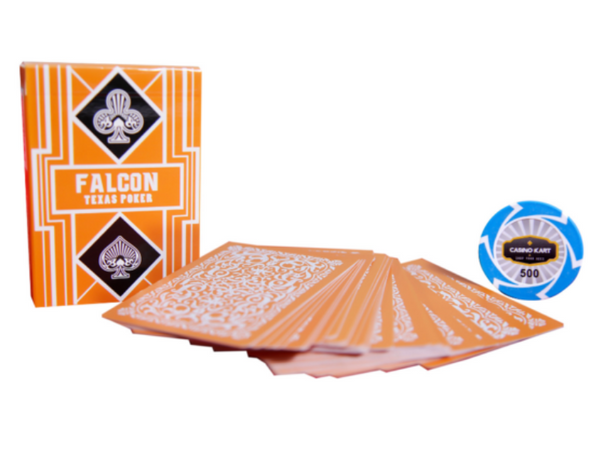 Falcon Texas Poker Jumbo Index Orange - casino-kart