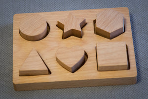 Hardwood handmade puzzle shapes for kids