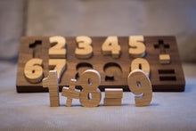Hardwood handmade puzzle numbers for kids
