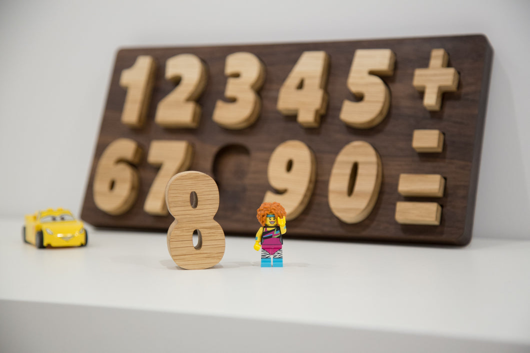 Hardwood handmade puzzle numbers for kids - FoxbyFox