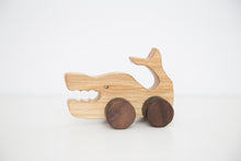 Handmade hardwood Whale on wheels