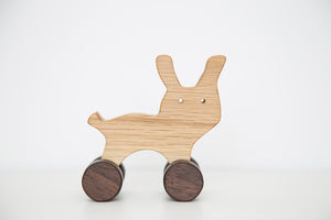 Handmade hardwood Rabit on wheels_purr purr - FoxbyFox