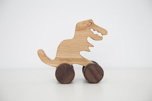 Handmade hardwood wooden toy Dinosaur on wheels_raa raa - FoxbyFox