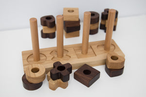 Hardwood handmade puzzle shapes for kids - FoxbyFox