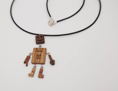 Handmade unique wooden necklace with silver