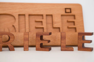 Hardwood handmade puzzle letters for kids