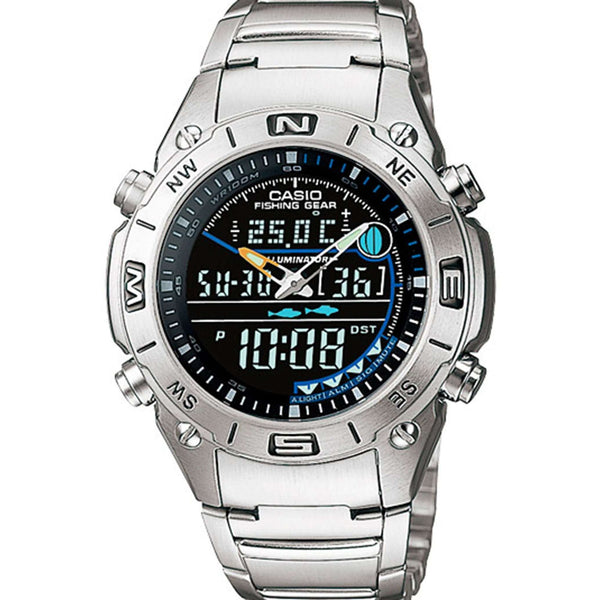 Reloj Casio AMW-703D-1A para Hombre Pulso Acero inoxidable Silver Multifuncion Supershop