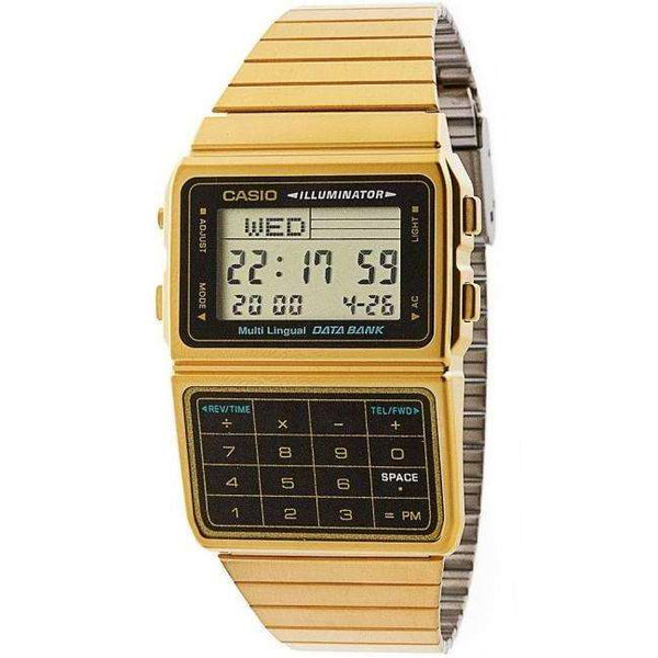 Reloj Casio DBC-611G-1D para Hombre Pulso Acero Inoxidable Dorado Digital Supershop