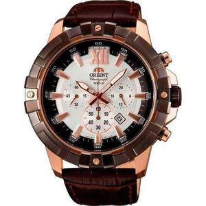 Supershop:Reloj Orient para Hombre Cronografo Casual Color Cafe