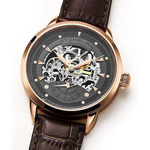 Stuhrling Original 133.3345K54 Executive Automatic Self Wind Esqueleto correa de cuero reloj Supershop