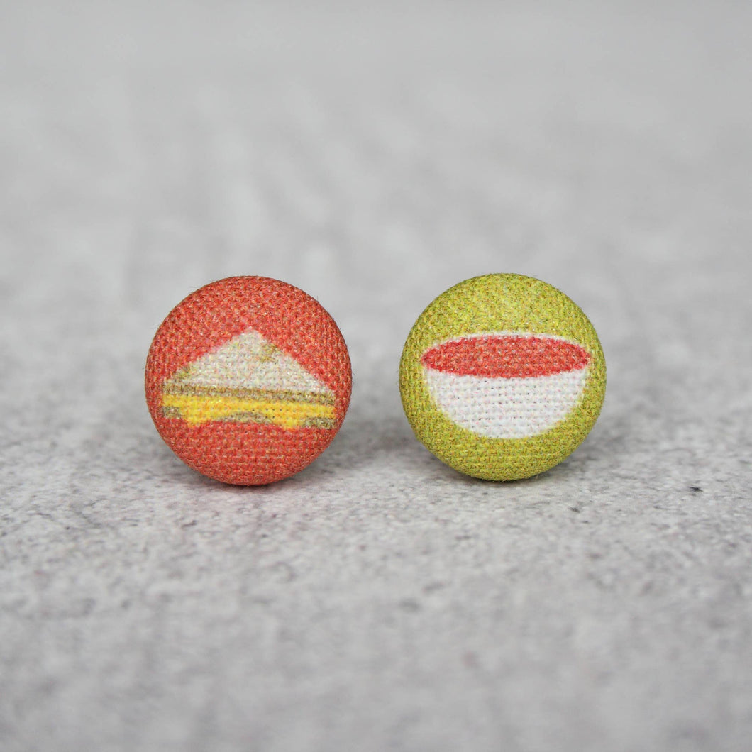 Grilled Cheese and Tomato Soup Fabric Button Earrings