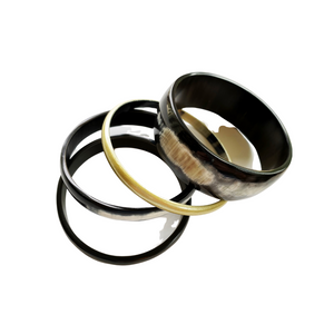 Natural Horn with Gold Bangle Set