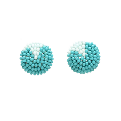 Turquoise and Light Blue Petite Seed Bead Button post