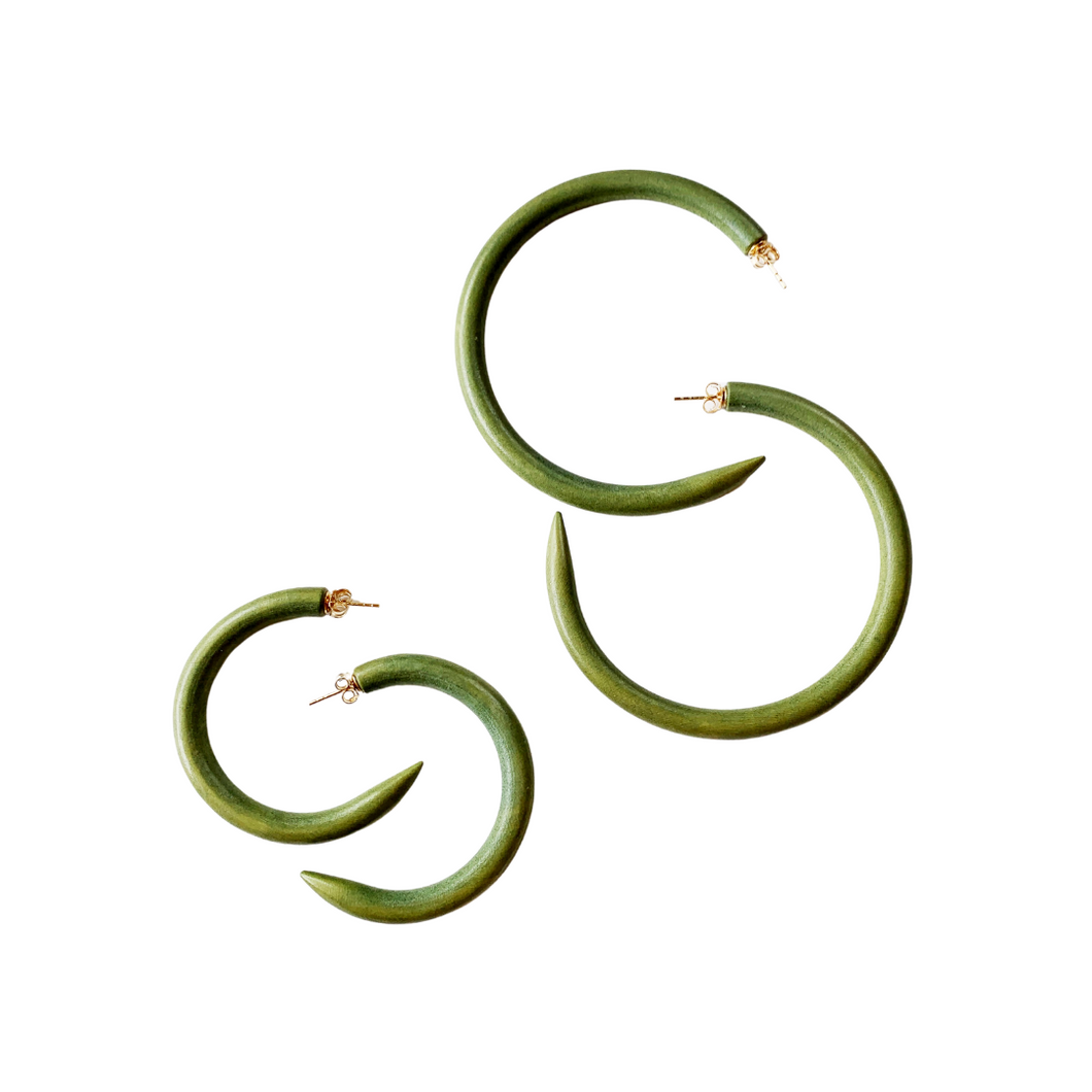 Olive Green Mango Wood Hoops