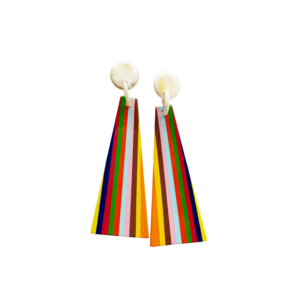 Large Rainbow Triangle Earring
