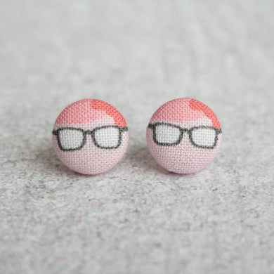 Nerd Girl Fabric Button Earrings