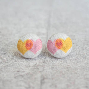 Love Plus Love Equals Love, Fabric Button Earrings
